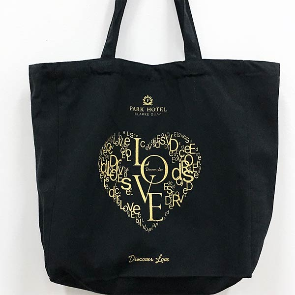 Supplying customized black color cotton canvas tote bags in Singapore