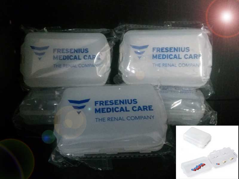 Customized double deck pill box as corporate event door gifts suitable for pharmaceutical industry