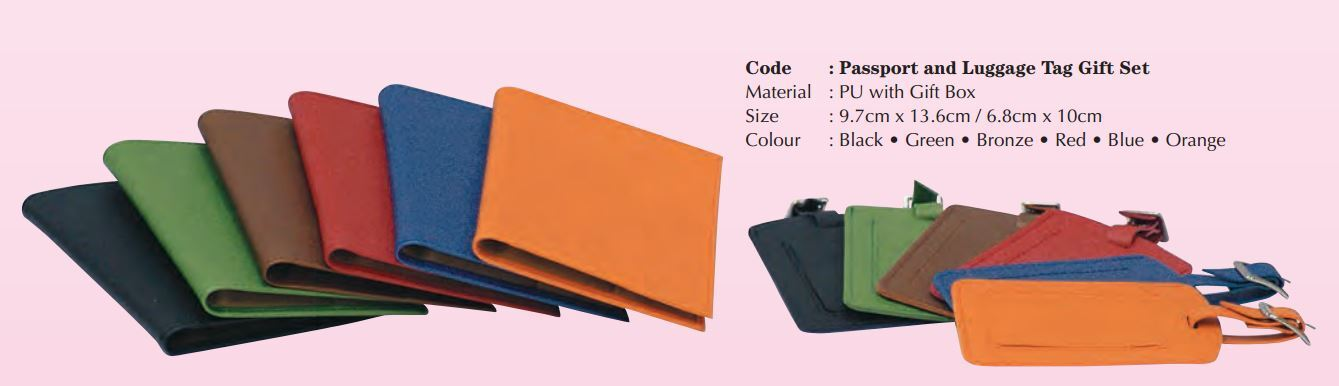 Customized PU leather passport holders and luggage tags as corporate gifts