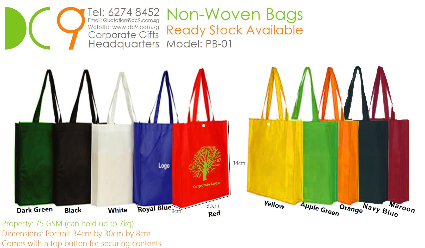 Wholesale portrait non-woven tote bag with ready stocks