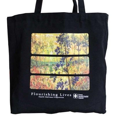 Customized 12 oz ready stock black canvas tote bags for CGH