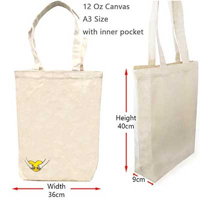 CB-11: 12 Oz A3 Beige Cotton Canvas Bags with Inner Pocket