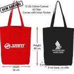 CB-12: 12 Oz A3 Black & Red Cotton Canvas Bags with Inner Pocket