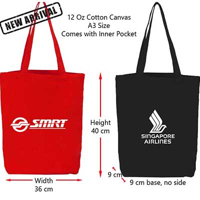 black and red A3 size cotton canvas bags