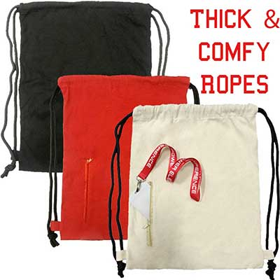 canvas drawstring bags with pocket
